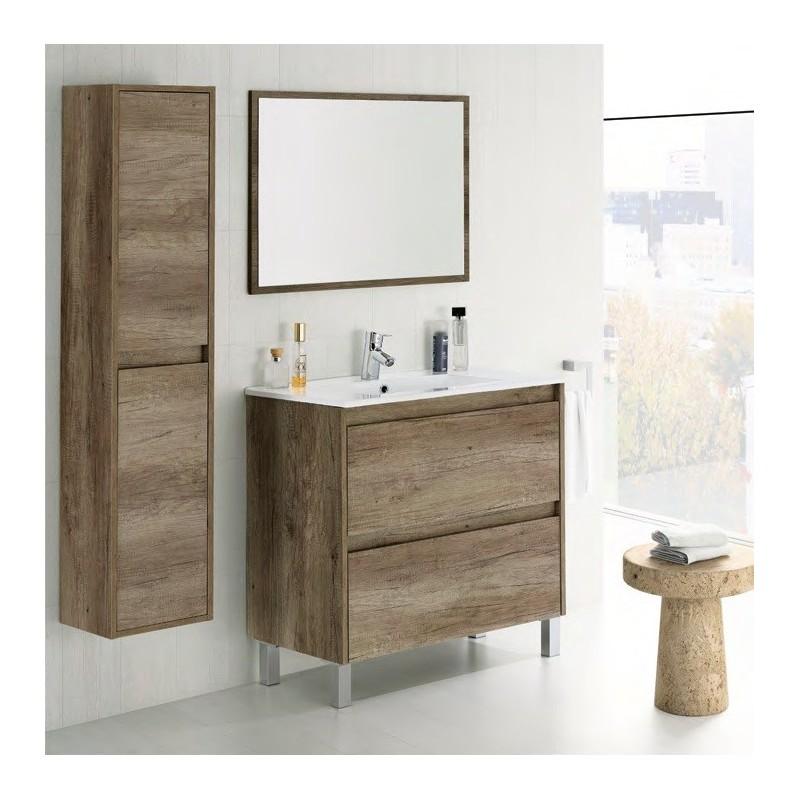 Mueble lavabo espejo dakota color nogal mubeko for Muebles de bano baratos