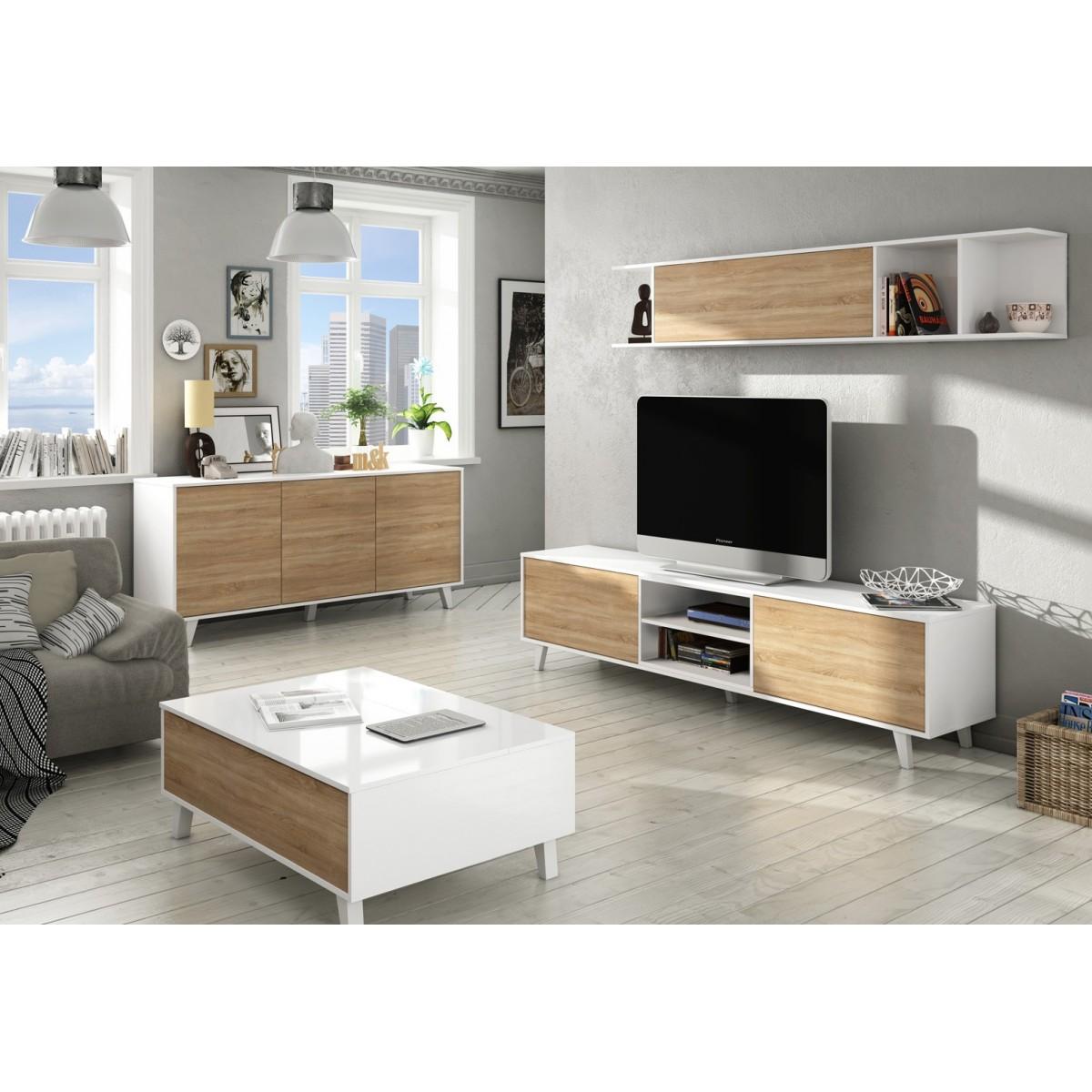 mueble saln blanco roble stylus plus coleccin nrdica