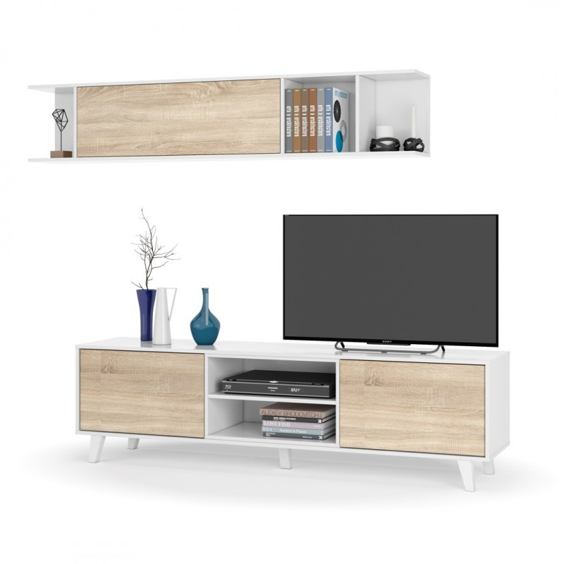 Mueble sal n blanco roble stylus plus colecci n for Mueble salon blanco y roble