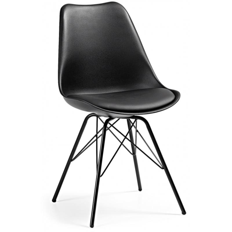 Silla Comedor Lars Estructura de Metal Color Negro