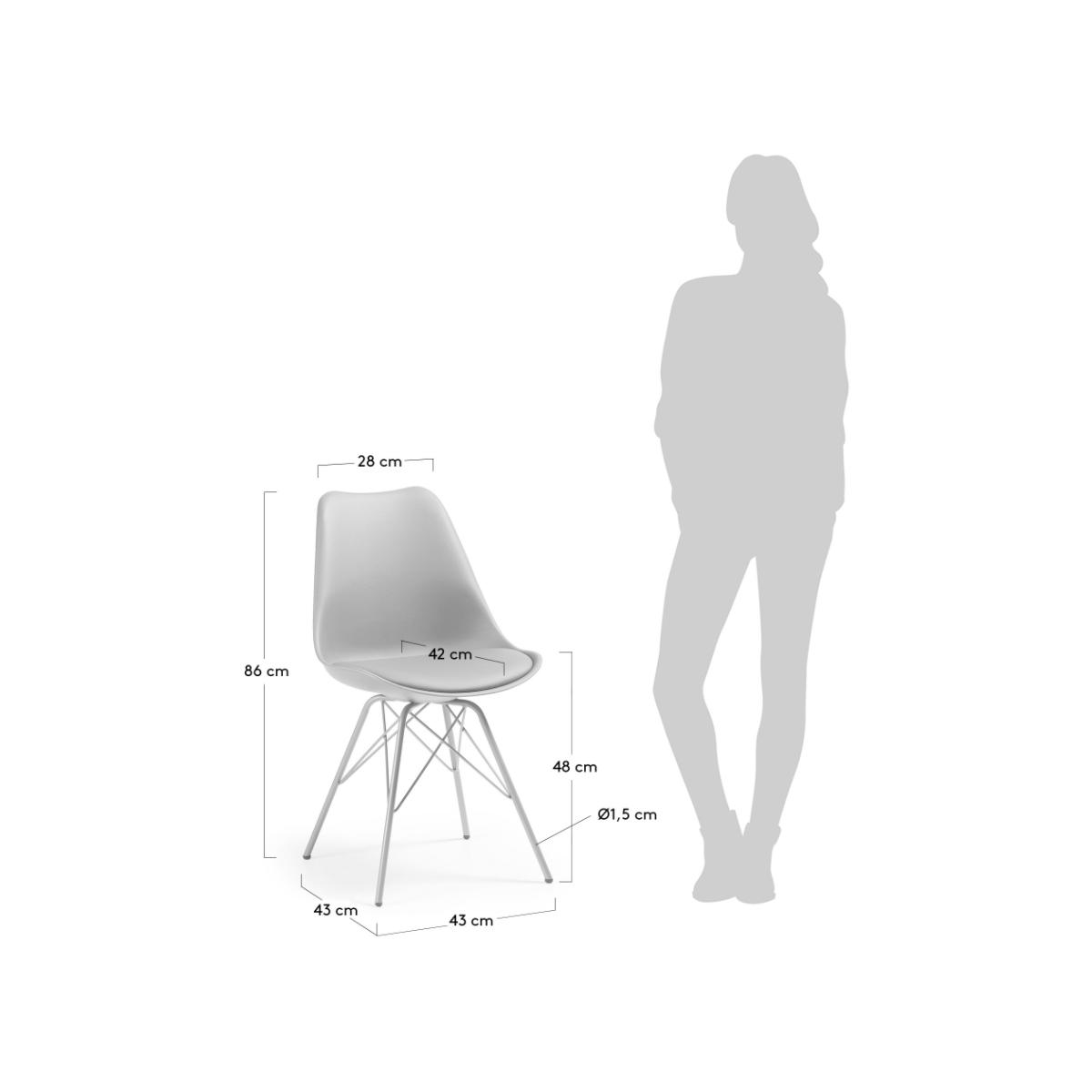 Silla comedor lars estructura de metal color gris mubeko for Sillas de comedor color gris