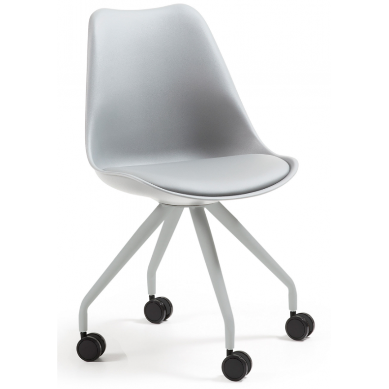Silla escritorio ralf con ruedas y asiento acolchado gris for Sillas con apoyabrazos escritorio