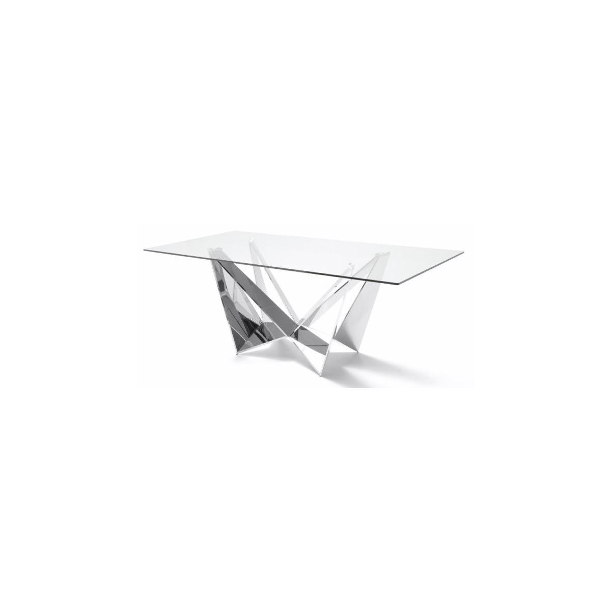 Mesa comedor dise o estructura cromada cristal templado for Mesa comedor diseno cristal