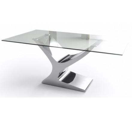 Mesa Comedor Cristal Estructura Cromada Modelo Esparta - Varias Medidas