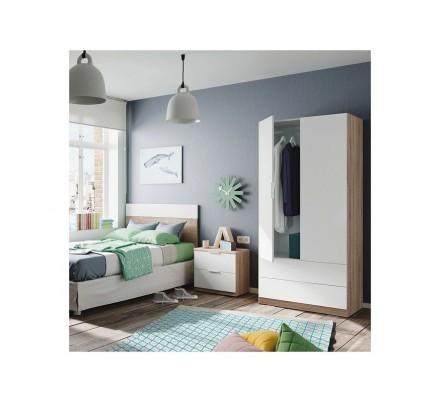 Armario 2 Puertas + 2 Cajones Modelo Nordic Color Roble-Blanco