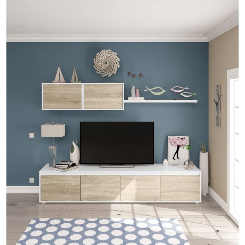 Composici n de sal n moderno modelo home color roble y for Composicion salon moderno