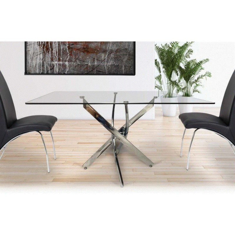 Mesa Comedor Acero Cristal Modelo Nesy 140x90 | Mubeko
