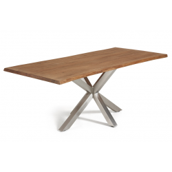 Mesa Arya Estructura Acero Inoxidable Mate - Tapa Roble Antiguo 180x100