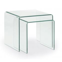 Set 2 Mesas Nido Burano 50x45 Cristal Transparente