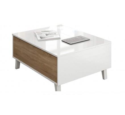 Mesa Centro Elevable Blanco Brillo - Roble Stylus Plus