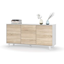 Aparador Buffet 3 Puertas Blanco Brillo -  Roble Stylus Plus