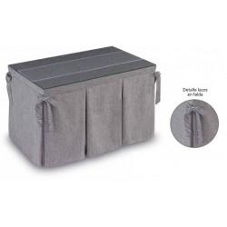 Pack Mesa Camilla Completa Modelo Roc de 110x70 o 120x70 color gris claro con camino corto y lazos incluidos