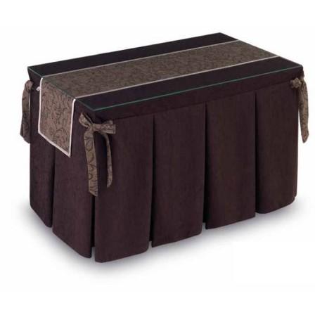 Pack Mesa Camilla Completa Modelo Roc de 110x70 o 120x70 color marrón con tapete largo estampado con bies y lazos decorativos