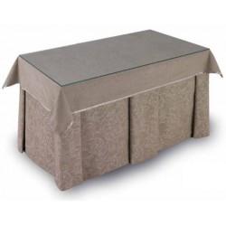 Pack Mesa Camilla Completa Modelo Roc de 110x70 o 120x70 color beige estampado con tablas inversas y tapete con bies