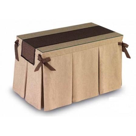Pack Mesa Camilla Completa Modelo Roc de 110x70 o 120x70 color beige con camino largo con bies y lazos decorativos.