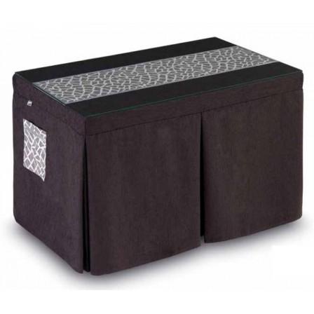 Pack Mesa Camilla Completa Modelo Roc de 110x70 o 120x70 color marrón con camino corto estampado con bies y bolsillo decorativo