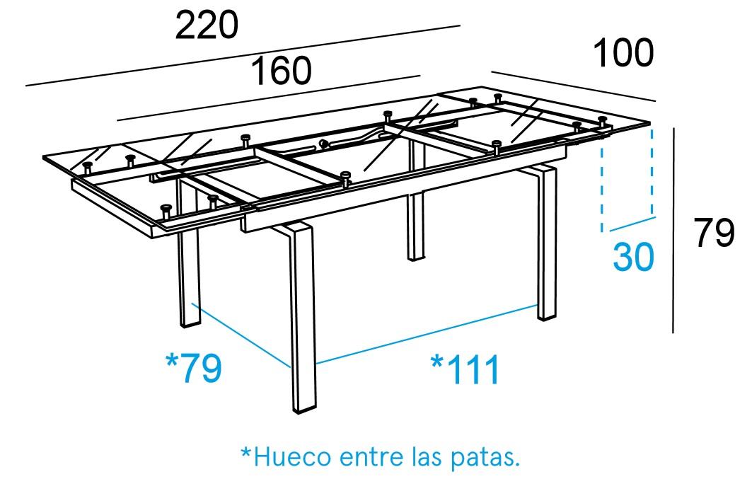 Medidas mesas de comedor elegant free mesa comedor glass - Medidas mesas de comedor ...