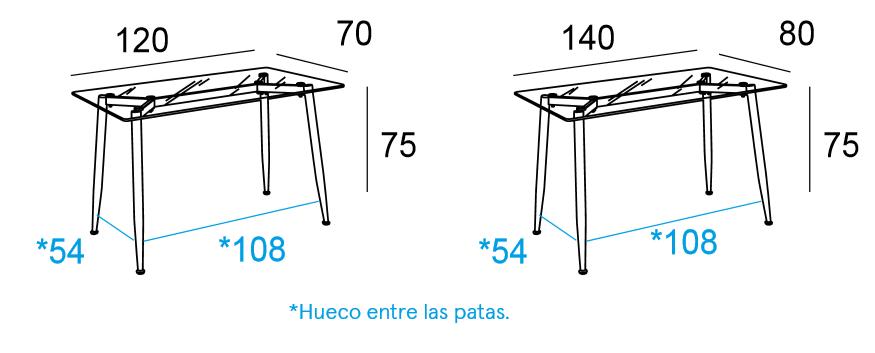 Mesa de oficina bugatti cristal varias medidas mubeko for Medidas mesa oficina