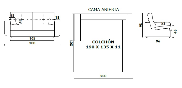 sof cama mil n sistema apertura italiana tela
